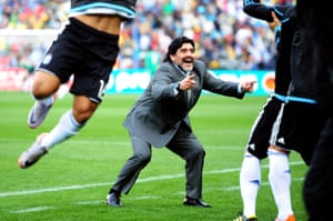 Maradona, head coach of Argentina, celebrates after Gabriel Heinze scored the opening goal during the 2010 FIFA World Cup South Africa Group B match between Argentina and Nigeria in Johannesburg