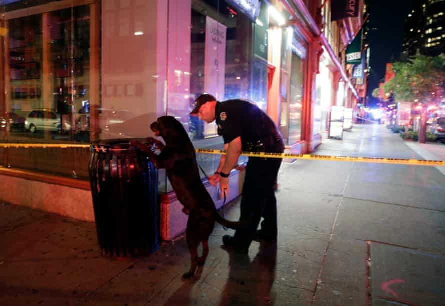 A New York policeman and his dog check a garbage can close to the scene of the explosion.