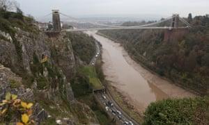 The Avon Gorge near the Clifton suspension bridge, where the two bodies were found.