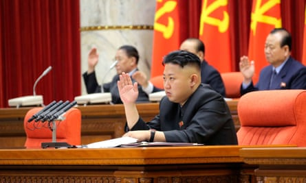 Kim Jong-un presides over a plenary meeting of the Central Committee of the Workers' Party of Korea.