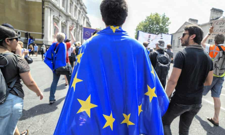 Demonstrators at a pro-EU march in London
