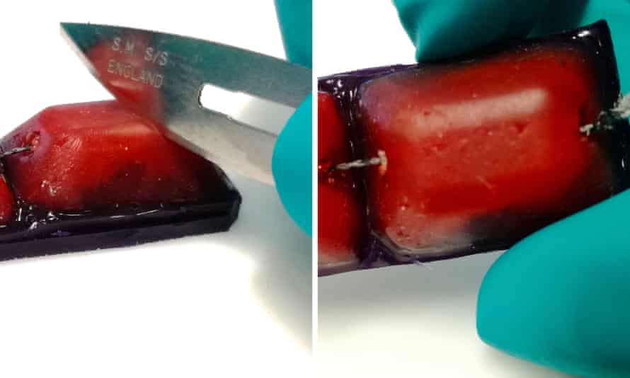 A robotic finger is damaged by a knife, left, and right, after it has fixed the damage.