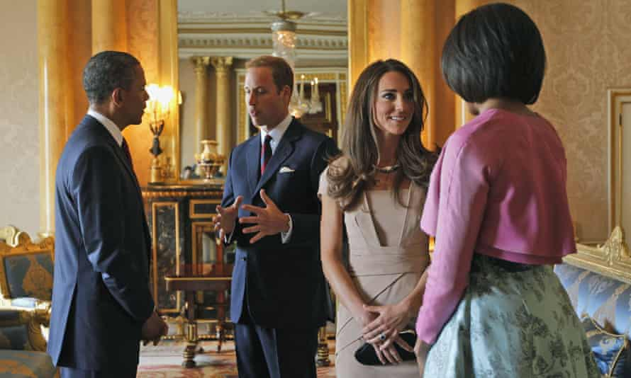 Barack and Michelle Obama meet with the Duke and Duchess of Cambridge at Buckingham Palace in 2011.
