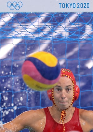 Spain's Laura Ester Ramos of Spain gets ready to make a save against South Africa in their women's water polo preliminary game