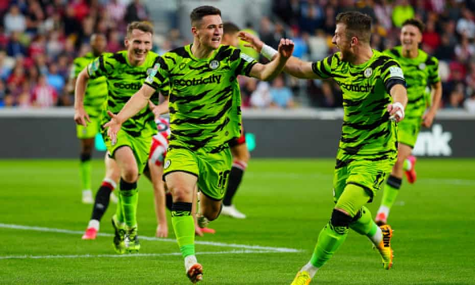 Jack Aitchison celebrates after scoring for Forest Green at Brentford in the Carabao Cup.