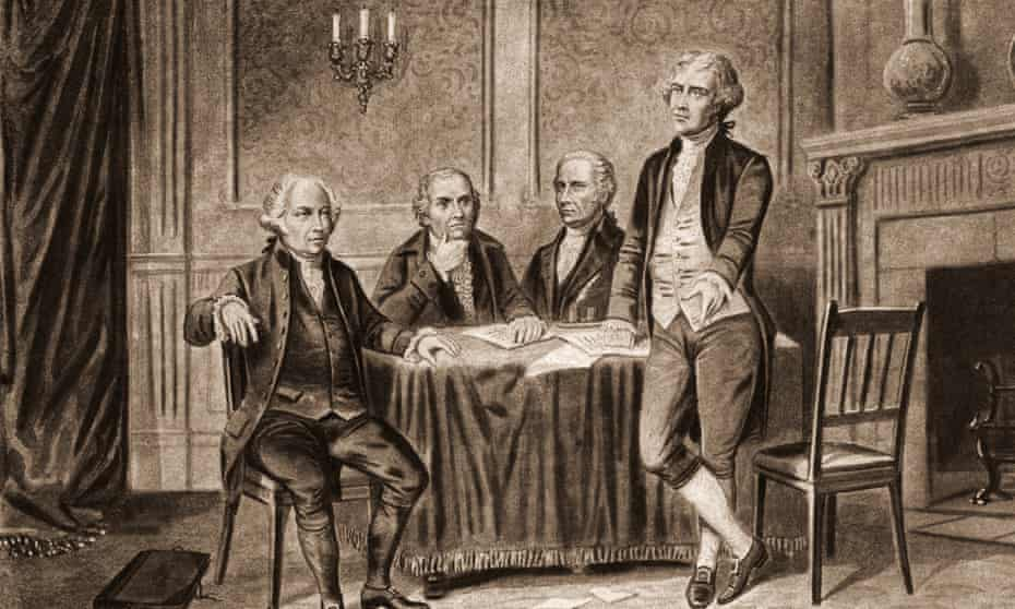 President John Adams, left, seated with fellow founding fathers Robert Morris and Alexander Hamilton, stayed up till midnight trying to frustrate his successor, Thomas Jefferson, right.