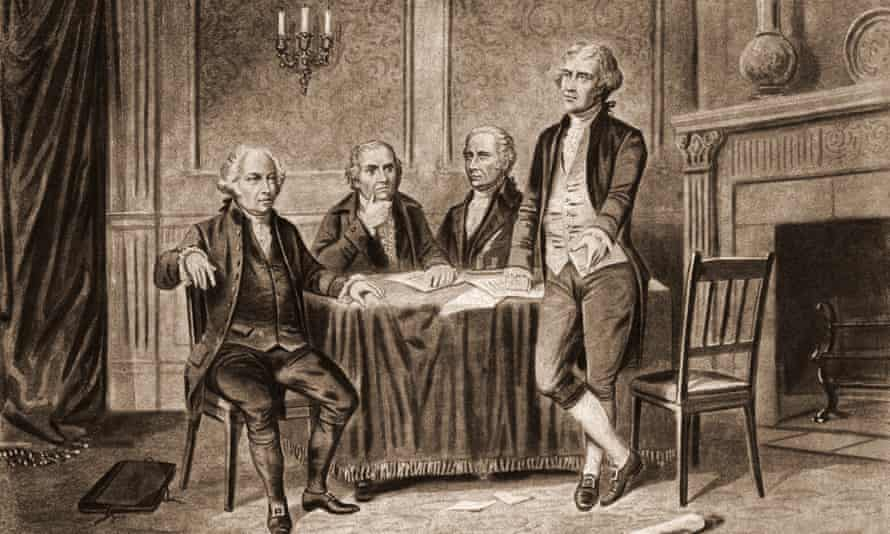 Four Founding FathersIllustration of four of the United States Foundign Fathers, from left, John Adams (1735 - 1826), Robert Morris (1734 - 1806), Alexander Hamilton (1757 - 1804), and Thomas Jefferson (1743 - 1826), 1774. (Photo by Stock Montage/Getty Images)
