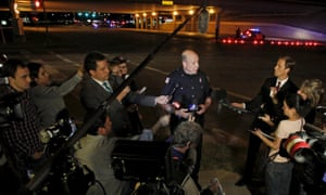 Garland police officer Joe Harn addresses the media near the Curtis Culwell Center after a shooting outside the cartoon competition event, sponsored by the American Freedom Defense Initiative.