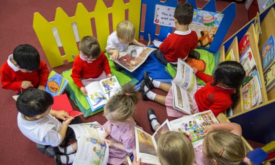 Primary school children reading in a classroom