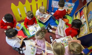 Primary school children reading in a classroom in the UK.