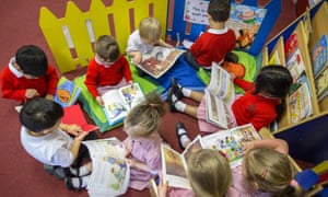 Primary school children reading in a classroom in the UK