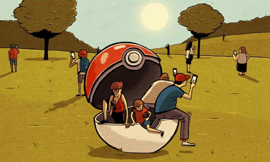 Pokemon-hunting children in countryside Illustration by Ben Jennings