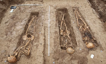 The well-preserved soldiers' skeletons.
