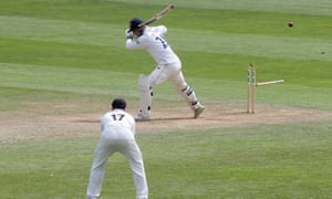 Tom Westley of Essex is bowled by Somerset's Josh Davey.