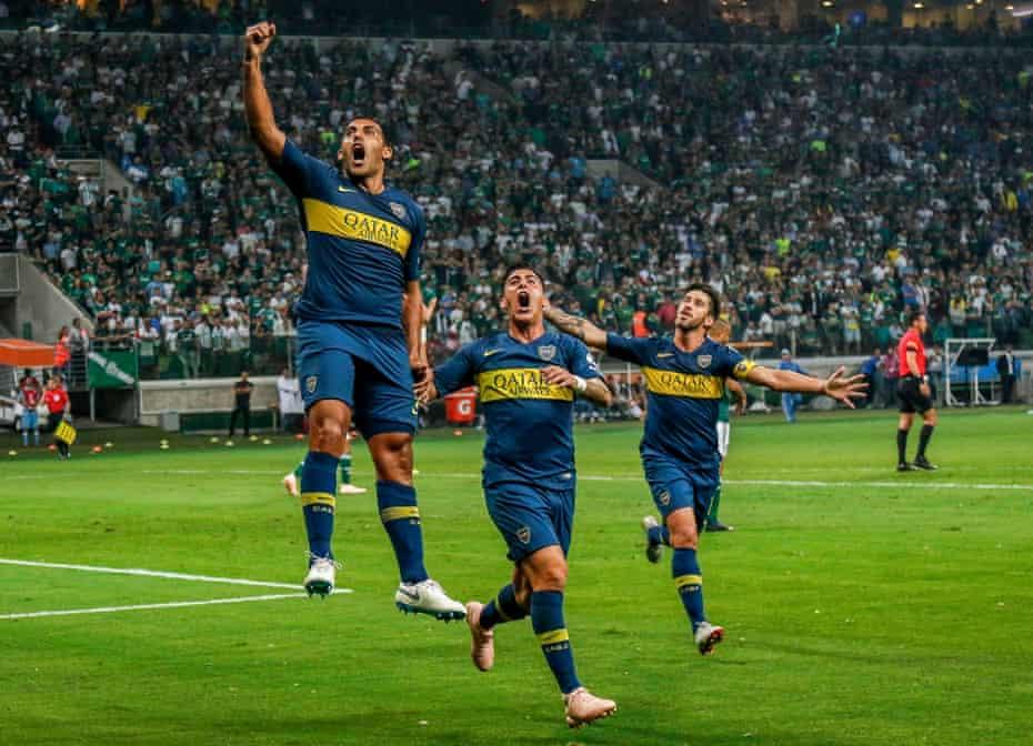 Boca Juniors celebrate their defeat over Palmeiras in the semi-finals.