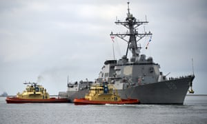 The guided-missile destroyer USS Preble has sailed near the disputed Scarborough Shoal in the South China Sea.