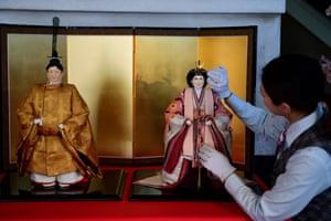 Tokyo, Japan: Dolls representing the next Japanese emperor, Naruhito, and his wife, Masako, are displayed at the Kyugetsu store