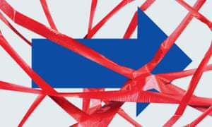 Red tape surrounds a blue arrow