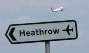A plane taking off at Heathrow airport.