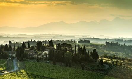 Классический вид кьянти: пейзаж, снятый над сельской местностью Тосканы в Италии с летней атмосферой.