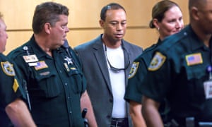 Tiger Woods in court after being found slumped behind the wheel of his car in 2017. The PGA gave no clarity on whether or not he was subject to penalty.
