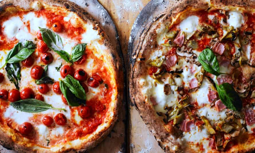 Pizza the action: the classic margherita (left) and a ham and artichoke pizzas.