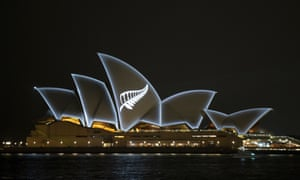 The Silver Fern symbol of New Zealand is projected onto the sails of the Sydney Opera House in Sydney on Saturday