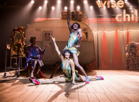 Omari Douglas as Showgirl Nora (top) with Melissa James as Showgirl Dora and Gareth Snook, left, as older Dora in Wise Children at the Old Vic.