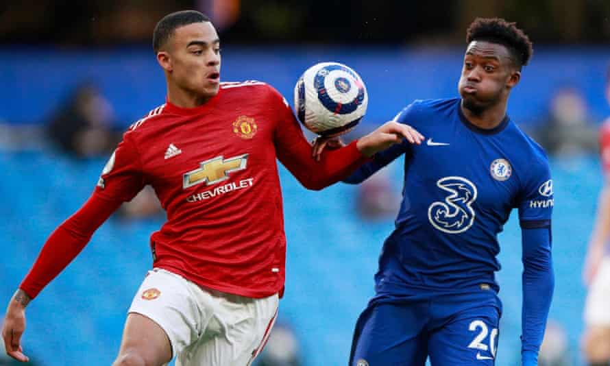 Mason Greenwood (left) and Callum Hudson-Odoi, pictured during the 0-0 draw at Stamford Bridge last month, are in the squad that heads to Slovenia later this month.
