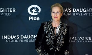 """Actress Meryl Streep arrives for the premiere of the film """"India's Daughter"""" at Baruch College in New York."""