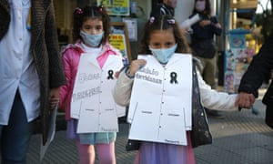 Teachers protest for the return to virtual learning, Buenos Aires, Argentina.