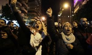Lebanese protesters gathered outside the Beirut home of Hassan Diab