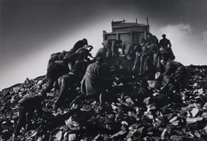 People scrabbling for coal on a colliery waste tip near Sunderland, 1962