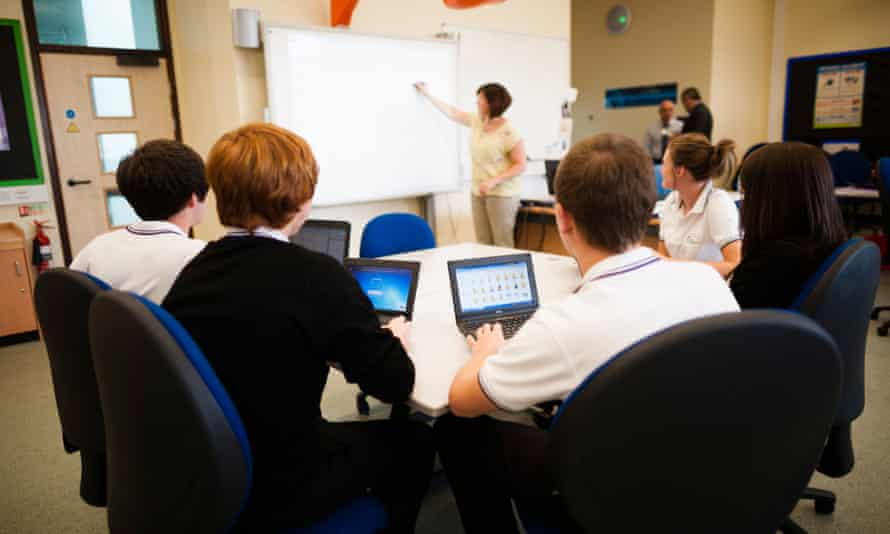 A-level pupils in class at a secondary school.