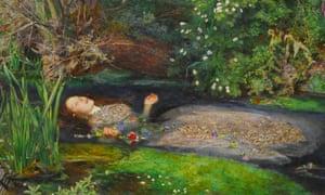 John Everett Millais's Ophelia, modelled on Elizabeth Siddall.