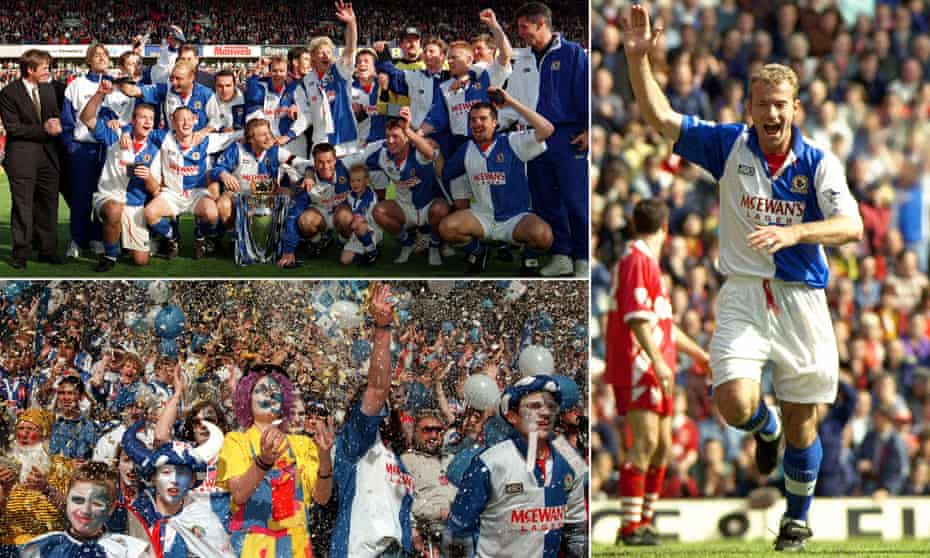 Clockwise from top left: The whole Blackburn team and staff; Alan Shearer and the fans celebrate winning the 1994-95 title.