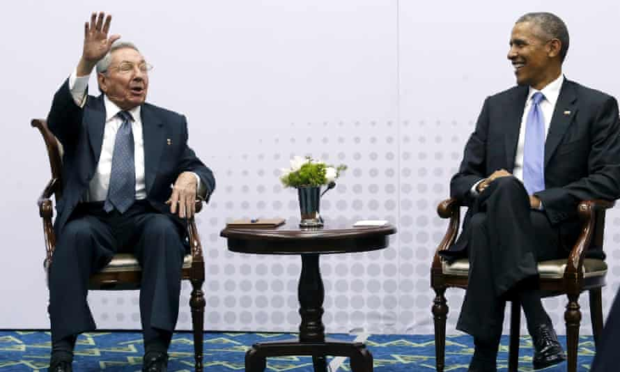 Cuba's president, Raul Castro, and Barack Obama in Panama in April. They have pledged to restore full ties.