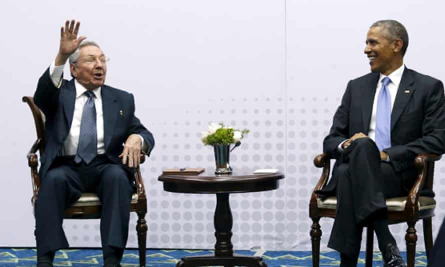 Raul Castro pretends not to hear questions from journalists as he and Barack Obama meet in Panama City, Panama in April.