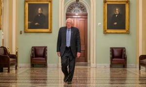 Bernie Sanders outside the Senate chamber in Washington DC on 25 March 2020.