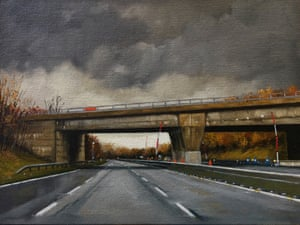 Glimmer motoway bridge painting by artist Jen Orpin.