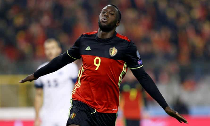 Romelu Lukaku celebrates scoring for Belgium against Estonia in November 2016