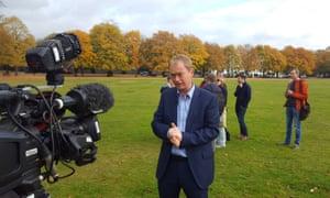 Liberal Democrat leader Tim Farron giving an interview on Richmond Green, October 2016
