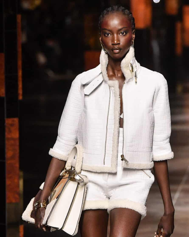 Model Anok Yai walking for Fendi's spring/summer 2022 collection at Milan fashion week.
