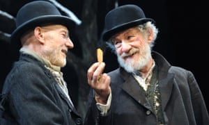 'He always had nice nibbles' … Patrick Stewart and McKellen on stage.