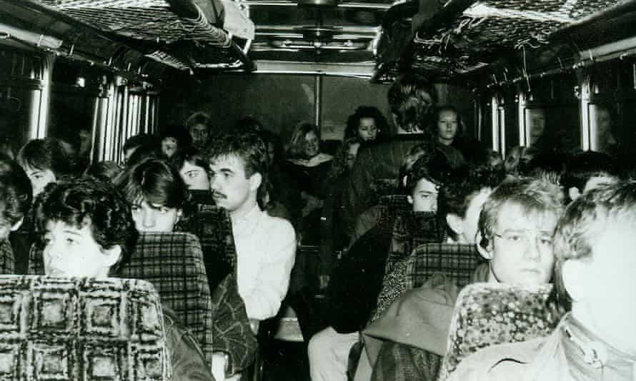 The school bus during the trip. A half-broken seat on the back row (where Barbara Kahlke is pictured) provided the hiding space for Bernd.