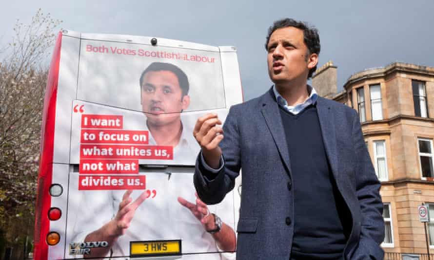 Anas Sarwar, Scottish Labour leader, beside his battle bus.