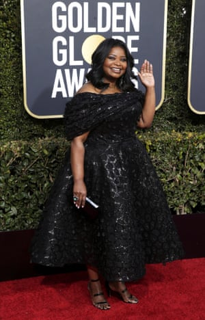 Octavia Spencer in a Christian Siriano off-the-shoulder black embellished gown.