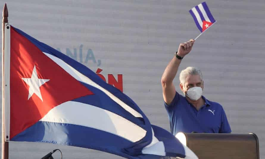 'Cuba's critics blame the government for the daily hardships Cubans face, dismissing US sanctions as an excuse.' The Cuban president, Miguel Díaz-Canel.