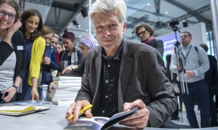 Karl Ove Knausgård signing copies of his book at the Frankfurt Book Fair, 2019