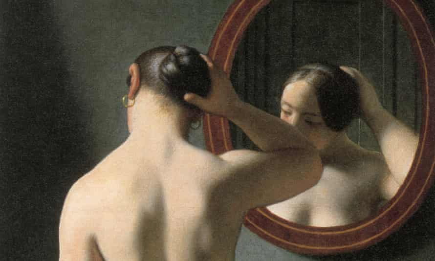 'A Nude Woman Doing her Hair Before a Mirror.' Oil on canvas by Christoffer Wilhelm Eckersberg, 1841.
